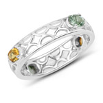 0.88 Carat Genuine Green Sapphire and Orange Sapphire .925 Sterling Silver Ring