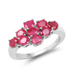 1.98 Carat Glass Filled Ruby .925 Sterling Silver Ring