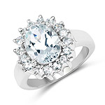 2.73 Carat Genuine Aquamarine .925 Sterling Silver Ring
