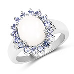 2.55 Carat Genuine Opal and Tanzanite .925 Sterling Silver Ring