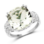 5.52 Carat Genuine Green Amethyst and White Diamond .925 Sterling Silver Ring