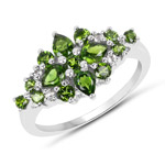 1.39 Carat Genuine Chrome Diopside and White Topaz .925 Sterling Silver Ring