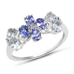 1.31 Carat Genuine Aquamarine, Tanzanite and White Topaz .925 Sterling Silver Ring