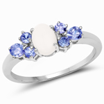 1.07 Carat Genuine Opal and Tanzanite .925 Sterling Silver Ring