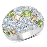 11.38 Carat Genuine Peridot, Citrine and Blue Topaz .925 Sterling Silver Ring