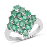 2.40 Carat Genuine Zambian Emerald .925 Sterling Silver Ring