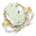 6.04 Carat Genuine Green Amethyst and Citrine .925 Sterling Silver Ring