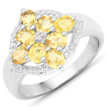 1.76 Carat Genuine Yellow Sapphire and White Diamond .925 Sterling Silver Ring
