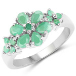 1.11 Carat Genuine Emerald and White Topaz .925 Sterling Silver Ring