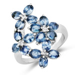 3.74 Carat Genuine Blue Sapphire .925 Sterling Silver Ring