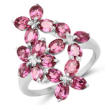 3.57 Carat Genuine Rhodolite .925 Sterling Silver Ring