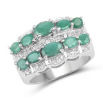 1.83 Carat Genuine Emerald and White Topaz .925 Sterling Silver Ring