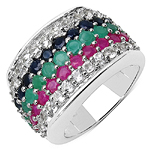 4.32 Carat Genuine Multi Stone .925 Sterling Silver Ring