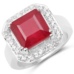6.36 Carat Glass Filled Ruby and White Topaz .925 Sterling Silver Ring