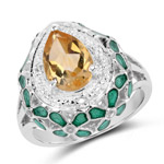 1.51 Carat Genuine Citrine and White Topaz .925 Sterling Silver Ring