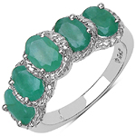 2.20 Carat Genuine Emerald Sterling Silver Ring