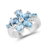 3.68 Carat Genuine Swiss Blue Topaz and White Topaz .925 Sterling Silver Ring