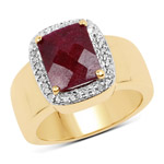 14K Yellow Gold Plated 5.00 Carat Dyed Ruby and White Topaz .925 Sterling Silver Ring