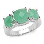 3.74 Carat Genuine Emerald .925 Sterling Silver Ring