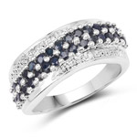 1.36 Carat Genuine Blue Sapphire and White Diamond .925 Sterling Silver Ring