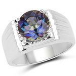 4.75 Carat Genuine Mystic Topaz .925 Sterling Silver Ring