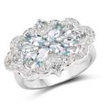 0.93 Carat Genuine Aquamarine and White Topaz .925 Sterling Silver Ring