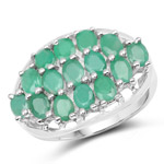 2.10 Carat Genuine Emerald .925 Sterling Silver Ring