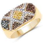 14K Yellow Gold Plated 0.62 Carat Genuine Multi Diamond .925 Sterling Silver Ring