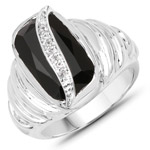 4.89 Carat Genuine Black Onyx and White Topaz .925 Sterling Silver Ring