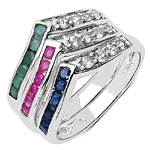 1.32 Carat Genuine Multi Stone .925 Sterling Silver Ring