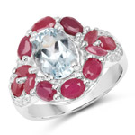 3.54 Carat Genuine Aquamarine, Ruby and White Topaz .925 Sterling Silver Ring