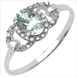 0.55 Carat Aquamarine & White Diamond 10K White Gold Ring