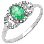 0.60 Carat Emerald & White Diamond 10K White Gold Ring
