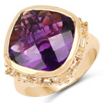 14K Yellow Gold Plated 8.40 Carat Genuine Amethyst .925 Sterling Silver Ring