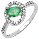 0.63 Carat Emerald & White Diamond 10K White Gold Ring