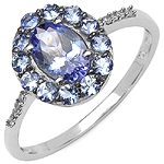 1.18 Carat Tanzanite & White Diamond 10K White Gold Ring