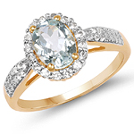14K Yellow Gold Plated 1.46 Carat Genuine Aquamarine & White Topaz .925 Sterling Silver Ring