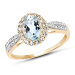 1.46 Carat Genuine Aquamarine and White Diamond 10K Yellow Gold Ring