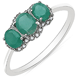 0.76 Carat Emerald & White Diamond 10K White Gold Ring