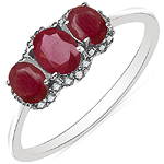 1.06 Carat Ruby & White Diamond 10K White Gold Ring
