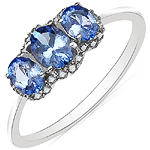 0.79 Carat Tanzanite & White Diamond 10K White Gold Ring