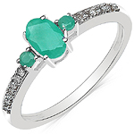 0.59 Carat Emerald & White Diamond 10K White Gold Ring