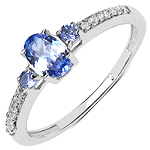 0.59 Carat Tanzanite & White Diamond 10K White Gold Ring