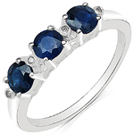 1.01 Carat Blue Sapphire & White Diamond 10K White Gold Ring