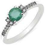0.57 Carat Emerald & White Diamond 10K White Gold Ring