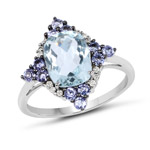 2.25 Carat Genuine Aquamarine, Tanzanite and White Diamond 10K White Gold Ring