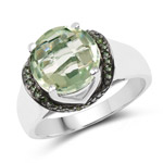 3.95 Carat Genuine Green Amethyst and Green Diamond .925 Sterling Silver Ring