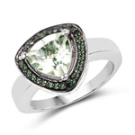 1.66 Carat Genuine Green Amethyst and Green Diamond .925 Sterling Silver Ring