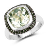5.19 Carat Genuine Green Amethyst and Green Diamond .925 Sterling Silver Ring