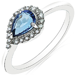 0.73 Carat Tanzanite & White Diamond 10K White Gold Ring